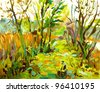 Original oil painting landscape with tree. I, the Artist, owns the copyright - stock photo