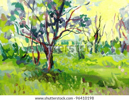 Original oil painting landscape with tree. I, the Artist, owns the copyright - stock vector