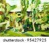 original oil painting spring  village landscape - stock photo