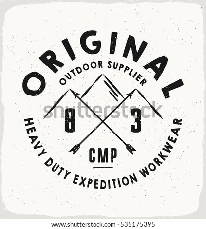 Original outdoor print for t shirt or apparel retro artwork for fashion and printing