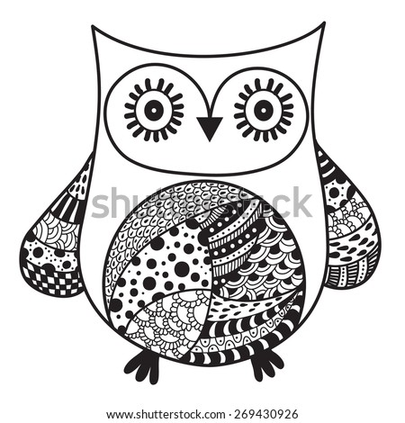 original owl artwork, ink hand drawing in ethnic style collection, vector illustration in black end white colors - stock vector