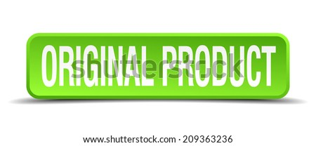 original product green 3d realistic square isolated button - stock vector