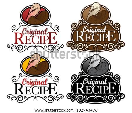 Original Recipe Turkey Version Seal - stock vector