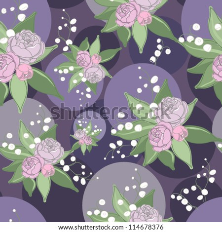 Original seamless floral pattern with cute roses and lily of the valley - stock vector