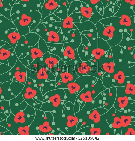 Original seamless floral pattern with small poppies - stock vector