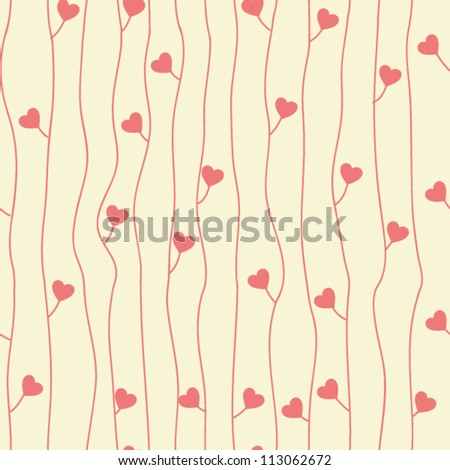 Original seamless pattern with hearts - stock vector