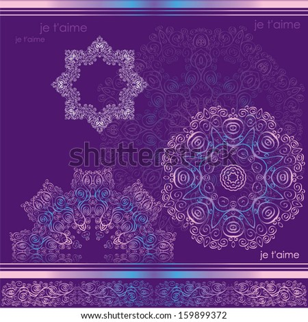 original snowflakes, patterns and inscriptions of Je t'aime! on a lilac background. Translation: I love you - stock vector