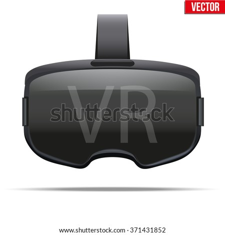 Original stereoscopic 3d vr headset. Front view. Vector illustration Isolated on white background.