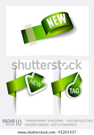 Original Style Green Eco Paper Tags with TRANSPARENT shadows. Ready to copy and paste on every surface. - stock vector