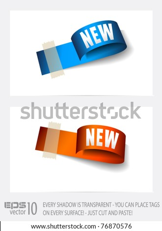Original Style Paper Tag with TRANSPARENT shadows. Ready to copy and paaste on every surface. - stock vector