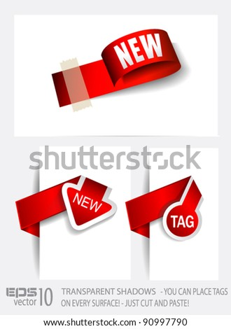 Original Style Paper Tags with TRANSPARENT shadows. Ready to copy and paaste on every surface. - stock vector