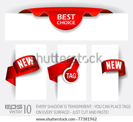 Original Style Red Tags with TRANSPARENT shadows. Ready to copy and paste on every surface. - stock vector