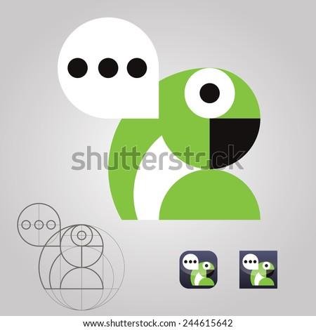 original talking parrot logo icon communication messages vector illustration - stock vector