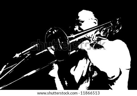 Original trombone player, vector illustration - stock vector