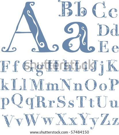 original vector hand drawn alphabet in retro style, fully editable - stock vector