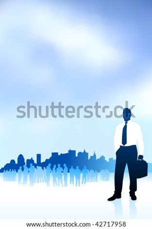 Original Vector Illustration: businessman traveler internet background with city skyline and group AI8 compatible - stock vector