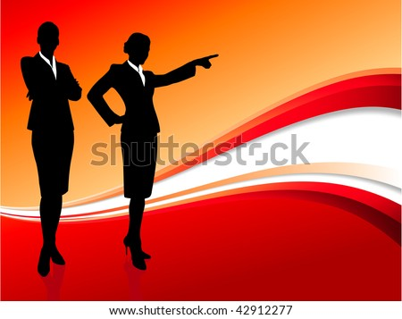 Original Vector Illustration: businesswoman executive on abstract red background AI8 compatible - stock vector