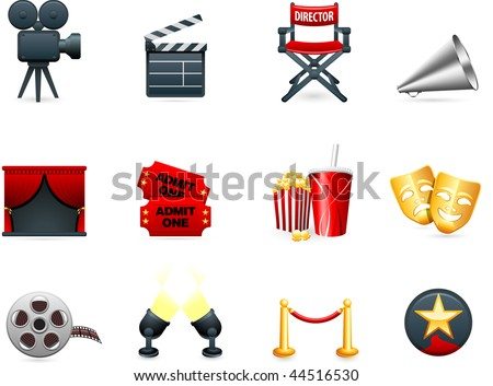 Original vector illustration: Film and movies industry icon collection - stock vector