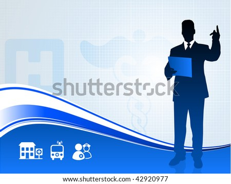 Original Vector Illustration: Public speaker silhouette on medical report background AI8 compatible