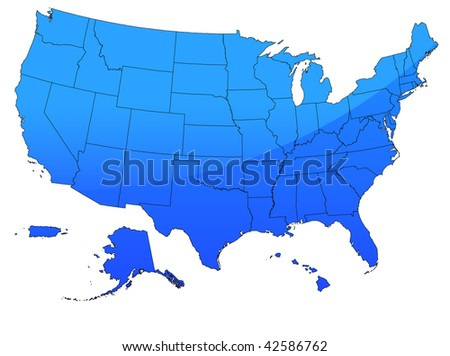 Original Vector Illustration: USA map in blue AI8 compatible - stock vector