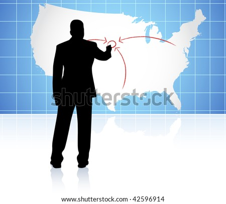 Original Vector Illustration: Young business man drawing on world map AI8 compatible - stock vector