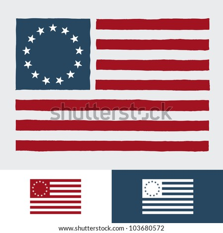 Original vintage American flag design with 13 stars - stock vector
