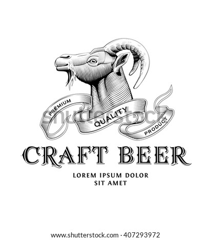 Original vintage badge logo design template for beer house, bar, pub, brewing company, brewery, tavern, taproom, alehouse, beerhouse, restaurant with custom lettering and wild goat head - stock vector