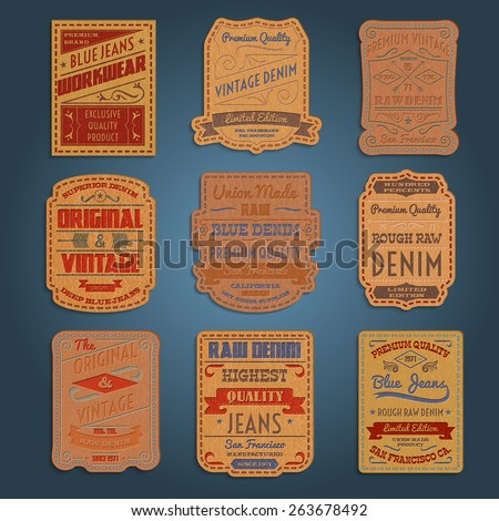 Original vintage blue raw jeans genuine leather exclusive brands classic decorative labels collection abstract isolated vector illustration - stock vector