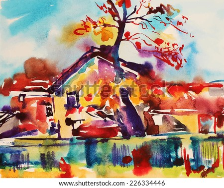 original watercolor abstract rural landscape, impressionistic painting, vector illustration - stock vector