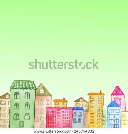 Original watercolor painted houses in Amsterdam architecture style. Colorful vector illustration. Can be used for cute print design for greeting holiday card or wallpaper design. - stock vector