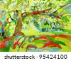 original watercolor painting by a tree - stock photo