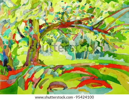original watercolor painting by a tree - stock vector