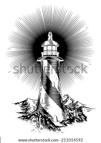 Original wood block or wood cut style lighthouse illustration - stock vector