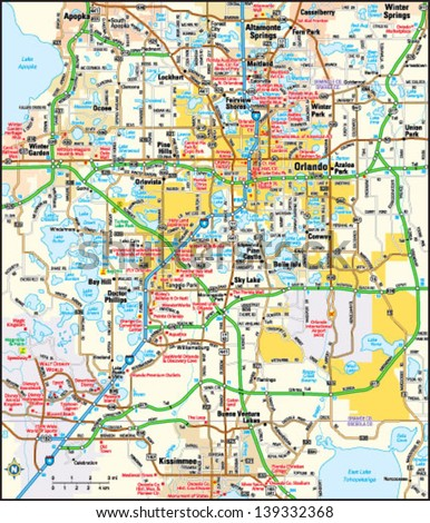 Orlando Florida Area Map Stock Photo Photo Vector Illustration