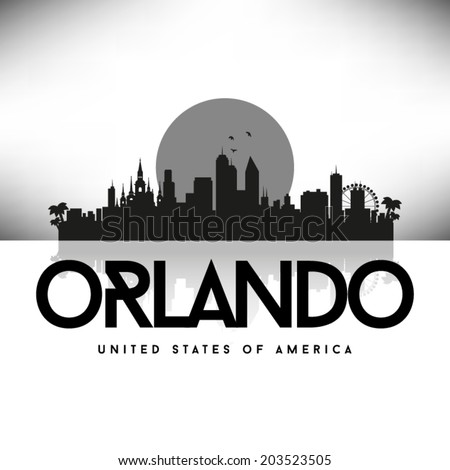 orlando skyline black and white. orlando florida black skyline silhouette vector design and white