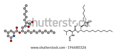 Orlistat obesity drug, chemical structure. Conventional skeletal formula and stylized representation, showing atoms (except hydrogen) as color coded circles.  - stock vector