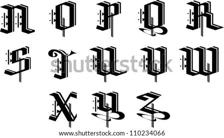 ornament alphabet 1 - stock vector