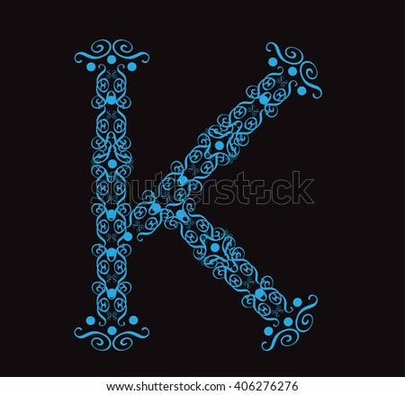 Ornament alphabet fonts neon letter K - stock vector