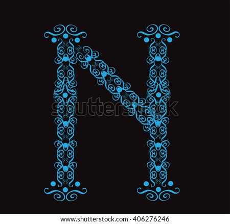 Ornament alphabet fonts neon letter N - stock vector