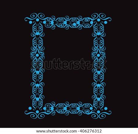 Ornament alphabet fonts neon letter O - stock vector