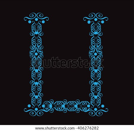 Ornament alphabet fonts neon letter U - stock vector