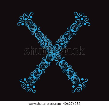 Ornament alphabet fonts neon letter X - stock vector