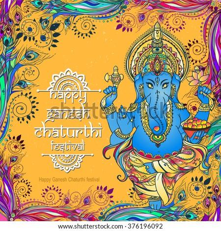 Ornament beautiful card with God Ganesha. Illustration of Happy Ganesh Chaturthi. Ganesh chaturthi festival dedicated to Ganesha. Hinduism in India. Mediation. The god of wisdom and prosperity - stock vector