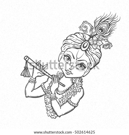 ornament card lord shri krishna birthday stock vector 502614625 ... - Baby Krishna Images Coloring Pages