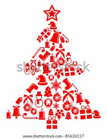 Ornament Christmas tree. Vector illustration. Isolated on white - stock vector