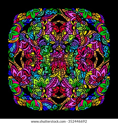 Ornament color card with mandala in the style of stained glass on a black background. Indian, Arab, African, Mexican decorative vector elements. - stock vector