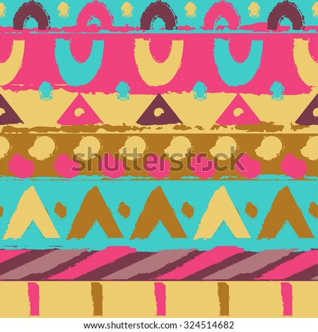 Ornament colorful ethnic. Geometric pattern. Hand drawn pattern