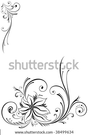 Ornament element, all parts closed, editing is possible, floral backgrounds - stock vector