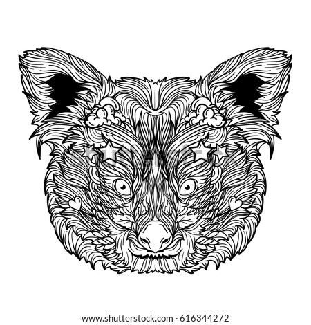 Ornament Face Red Panda Coloring Book Stock Vector HD (Royalty Free ...