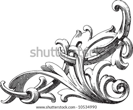Ornament in style of an ancient engraving - stock vector